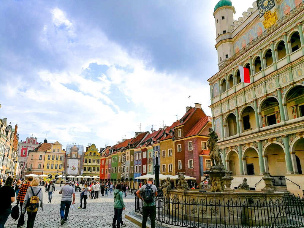 The old town hall and market square in Poznan