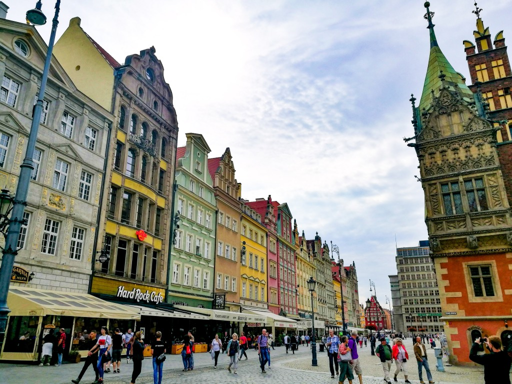 The main square in Wroclaw is surrounded by decorated buildings
