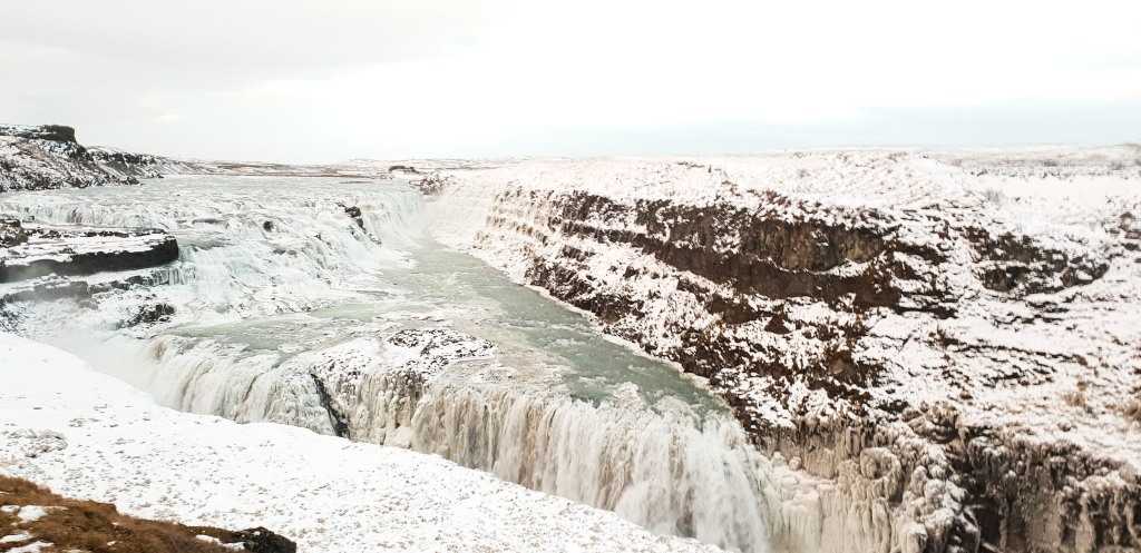 Gullfoss in Iceland partly frozen