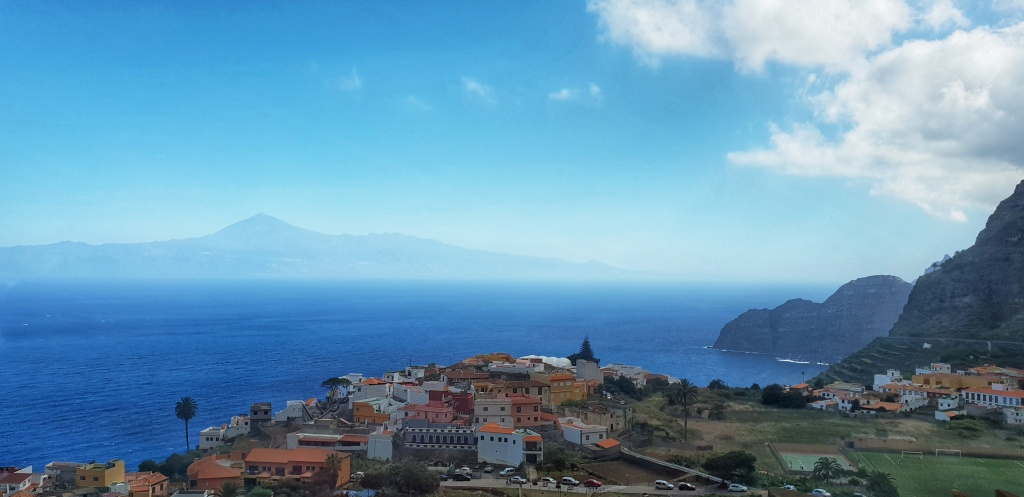 View of Agulo with Teide on Tenerife in the background