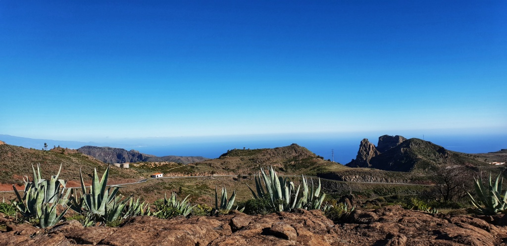 View of the Atlantic ocean from a viewpoint in La Gomera with cacti in front