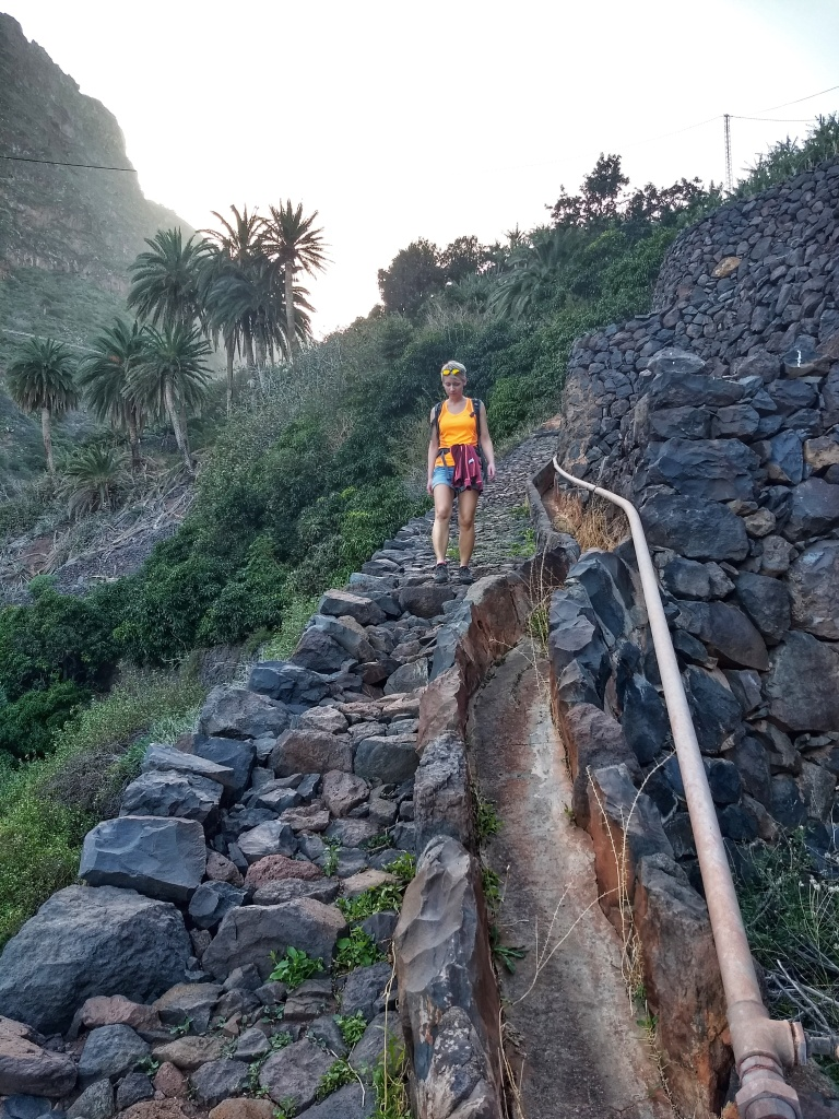 A woman walking down a stone trail next to palm trees in La Gomera
