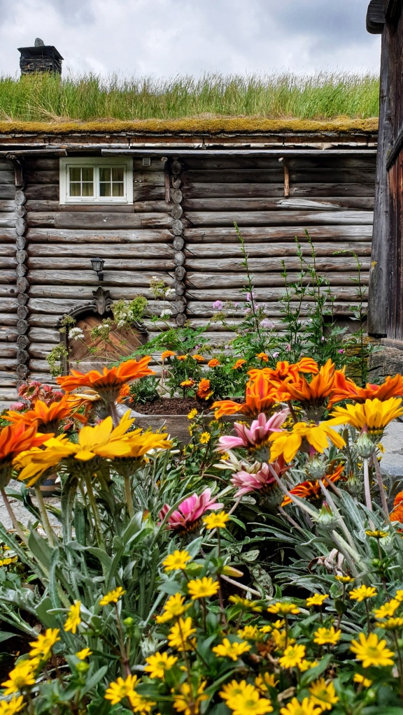 Yellow, pink, and orange flowers blooming in front of an old building in Heidal