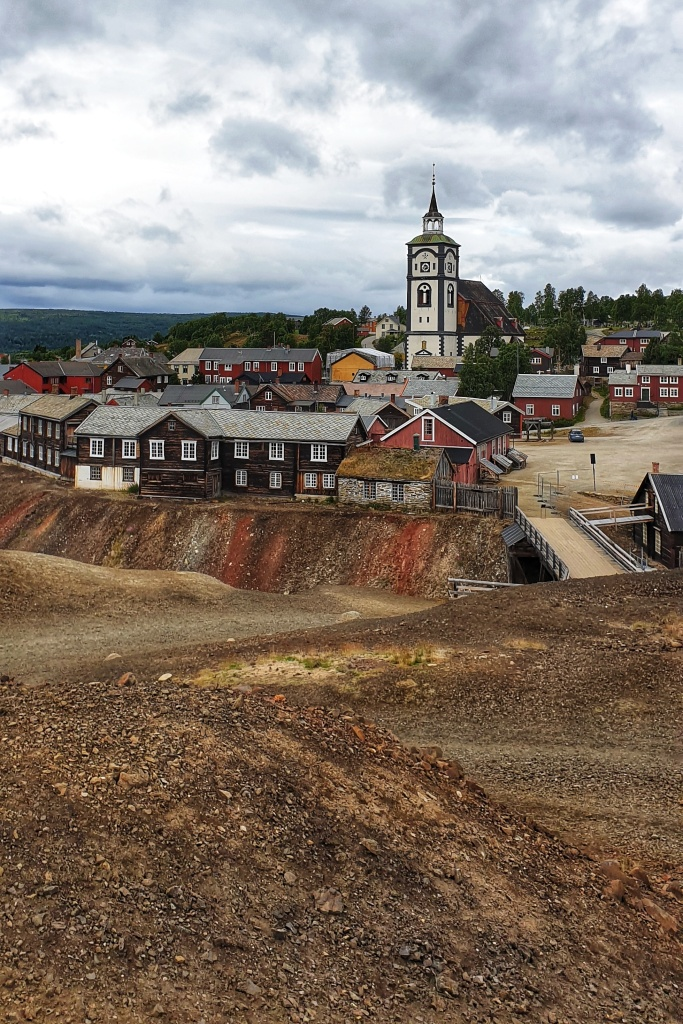Røros church and old town seen from the slag hills of the old mines.