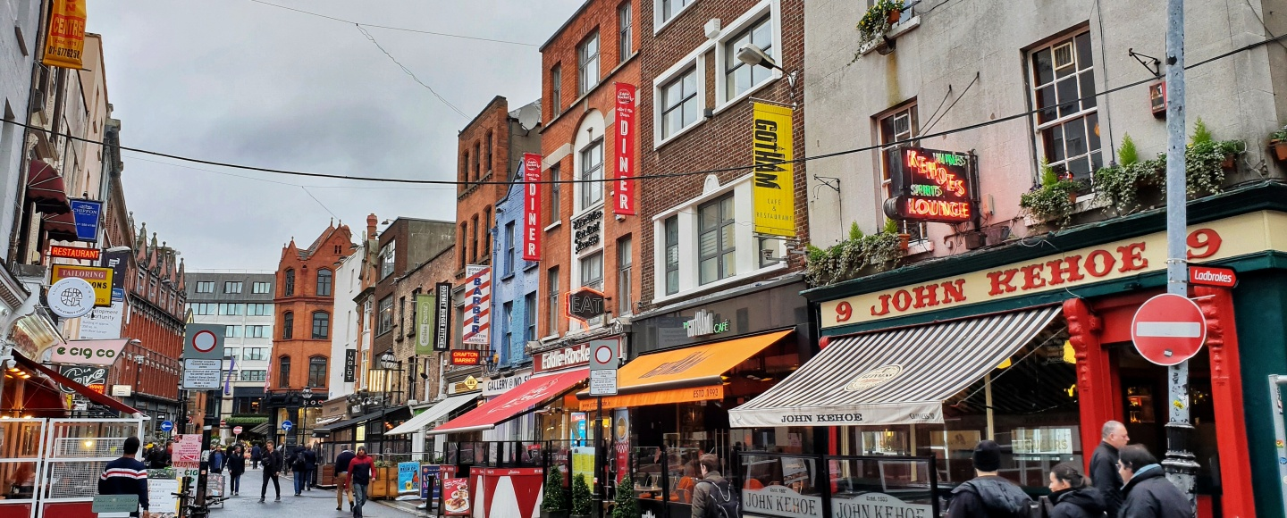 Street life in Dublin on a grey winter day