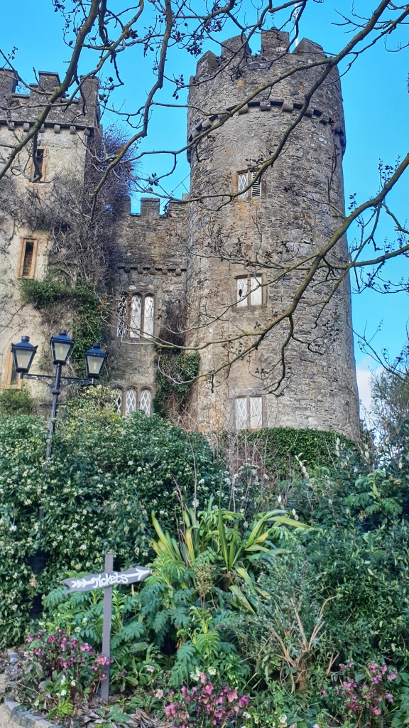 Malahide Castle towers with green bushes in front