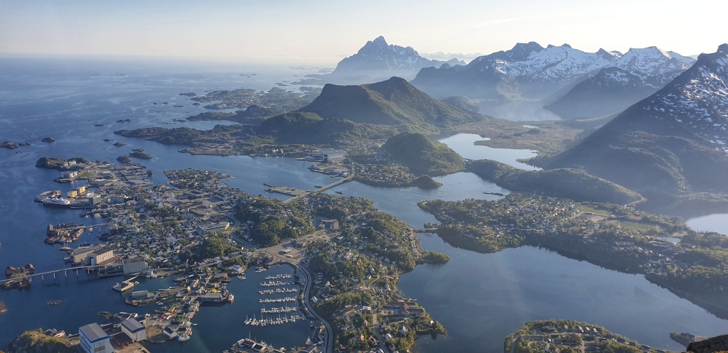 Svolvær and surrounding mountains seen from Fløya