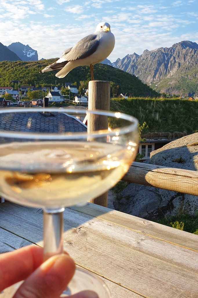 A champagne glass held up in front of a seagull and Reine.